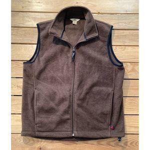 WOOLRICH Men's Brown Zip Up Fleece Vest Medium